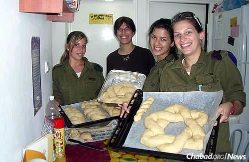 Batsheva Cohen makes challah with women soldiers, who get as creative as they like.