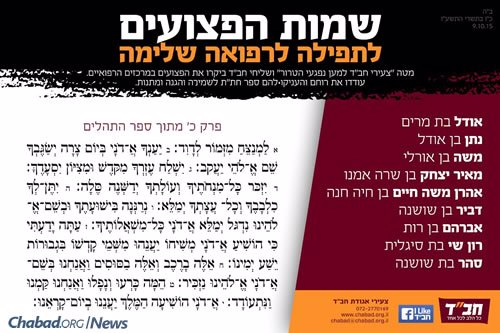 Chabad Terror Victims Project released this list of the wounded in need of prayer.