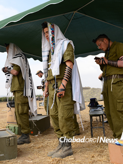 Chabad volunteers were out in full force on army bases as well. (File photo: Flash90)