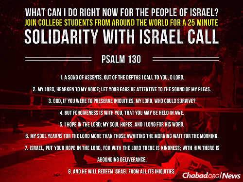 Prayers for the safety of Israel and her people can include Psalm 130.