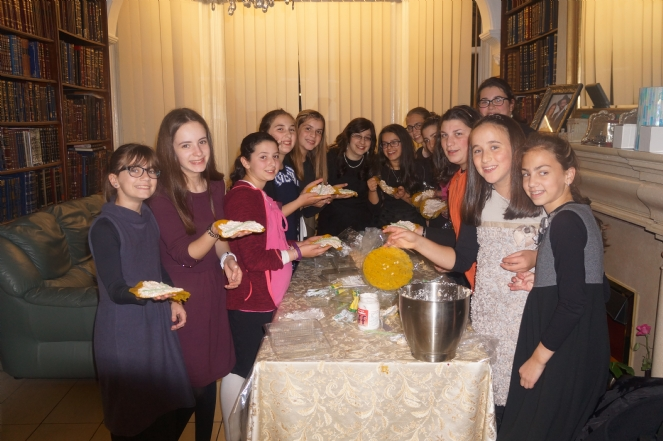Cteen girls enjoying a Sukkos party.JPG