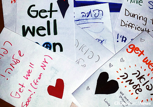 "At the ""Do a Mitzvah for Israel"" day, students crafted cards and wrote notes to families of the victims and wounded in Israel. (Photo: Chabad of Binghamton)"