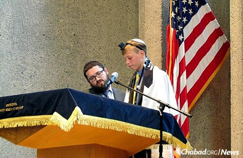 Liam Walas had a bar mitzvah ceremony geared specifically for his family at the U.S. Military Academy at West Point in New York last Sunday so that his brother, Avery Walas, a cadet there, could attend. It was led by Rabbi Mendel Teldon of Chabad of Mid Suffolk in Commack, N.Y.