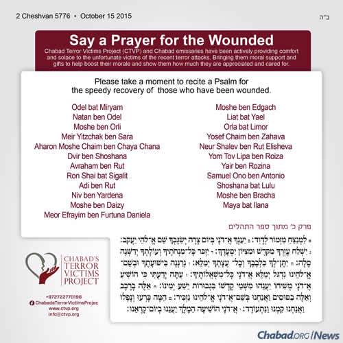 As violence continues, the Chabad Terror Victims Project (ctvp.org) released an updated list of those injured in recent terrorist attacks.