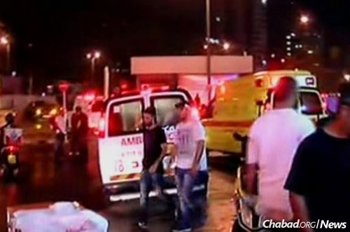 The scene late Sunday outside the central bus station in Be'er Sheva, where a terrorist killed two people and wounded 11 others.