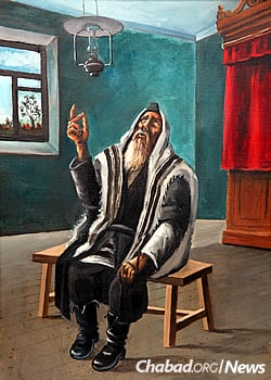 """When we pray, we need to focus on what we are saying and appreciate what it is saying to us,"" instructs Kaplan. Above, Chassidic artist Hendel Liberman depicts Rabbi Yisroel Neveler (Levine) deep in prayer."