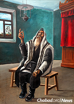 """""""When we pray, we need to focus on what we are saying and appreciate what it is saying to us,"""" instructs Kaplan. Above, Chassidic artist Hendel Liberman depicts Rabbi Yisroel Neveler (Levine) deep in prayer."""