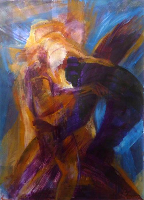 יעקב נאבק בעשו. ציור: יורם רענן