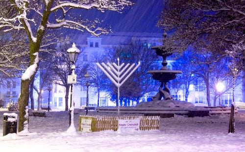 Artist Dominic Alves captured this image of a snowy Chanukah in Brighton, UK.