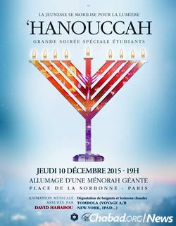 Announcing a Chanukah event for students near the Sorbonne in Paris. (Photo: Chlouchim.com)