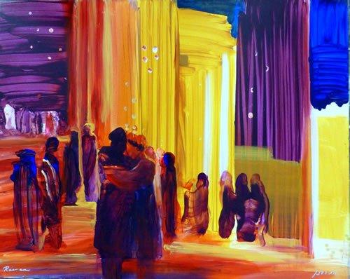 יוסף נפגש עם אחיו. ציור: יורם רענן