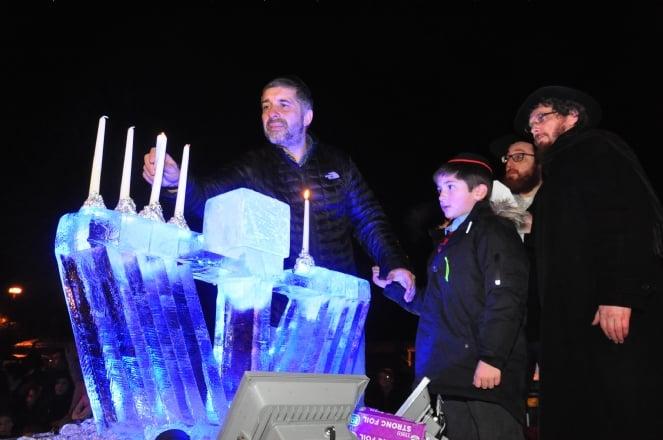 0809 Lighting the Iced Menorah for Chanucah, Jewish Festival of lights.JPG