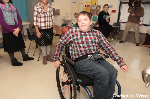 """""""I feel very privileged to have loyal friends and am also very excited,"""" says Shmuely, who proudly notes that he scored his first two-point shot in basketball while a local news crew was filming a story about the wheelchair dedication."""