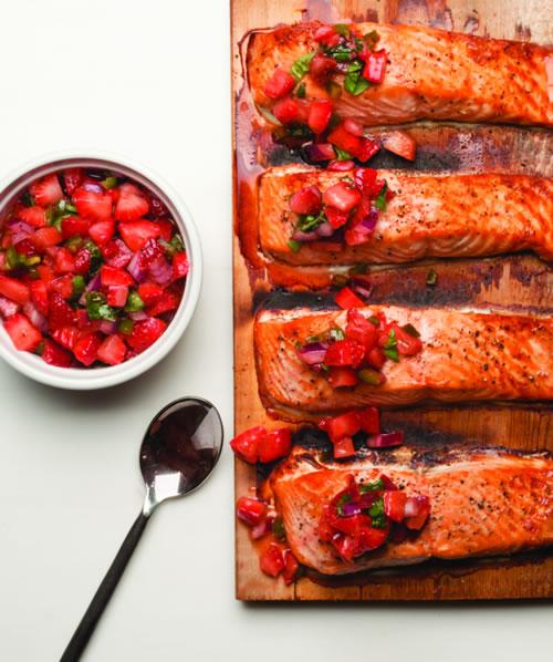 Cedar Planked Salmon With Strawberry Chili Salsa Salmon Kosher