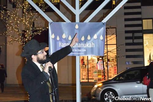 Jacobs talks about the holiday at the first public menorah-lighting hosted in Westlake.