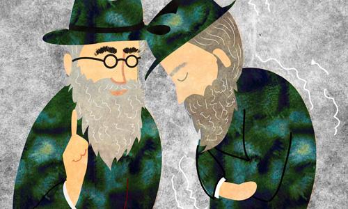 שני רבנים בדו-שיח. ציור: ספירה רוס