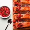 Cedar-Planked Salmon with Strawberry-Chili Salsa