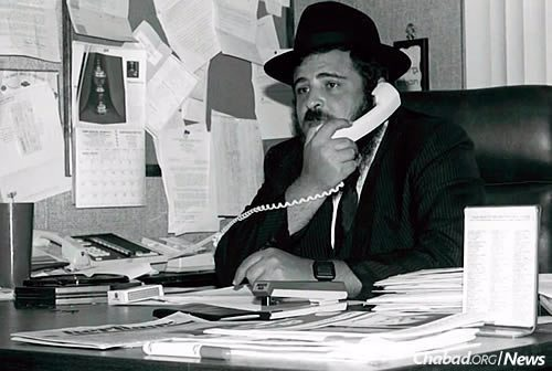 The rabbi at work in his office in the early years in Encino.