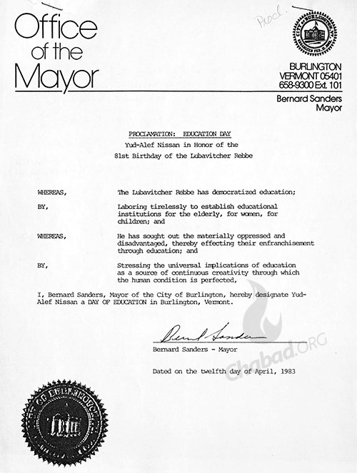 Mayor Bernard Sanders proclaims the Rebbe's birthday as a Day of Education in Burlington Vermont in 1983. Credit: 39/35, Bernard Sanders Papers, Special Collections, University of Vermont Library.