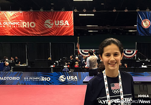 Estee Ackerman, 14, of Long Island, N.Y., competed earlier this month in the U.S. Olympic Trials in Table Tennis, which were held in Greensboro, N.C. She is currently ranked 14th in the nation.