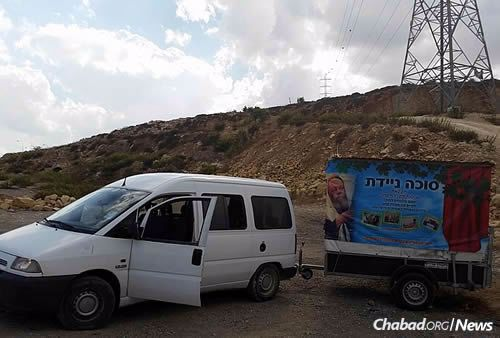"""The """"mitzvah tank"""" used by the rabbi to travel to IDF bases and help men wrap tefillin."""