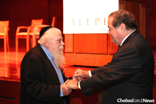 Rabbi Even-Israel (Steinsaltz) with Justice Scalia in New York City in June 2014. (Photo: The Aleph Society)