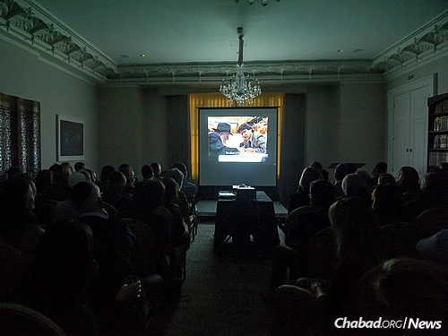 A short film featuring the Rebbe was shown at the book-launch event.