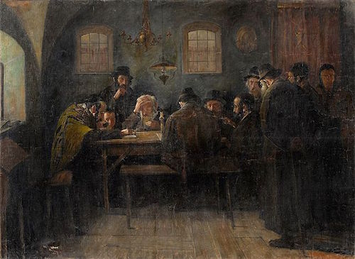 "Samuel Hirszenberg, ""Juden beim Talmudstudium, Paris"""