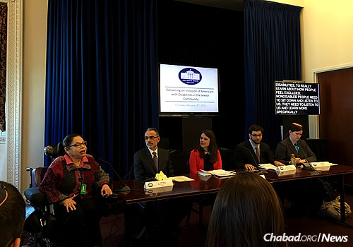 Panelists and guests at the White House for a Feb. 19 briefing and discussion on accessibility for and inclusion of people with special needs in the Jewish community.