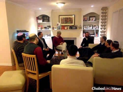 The Fathers First group in Connecticut meets four times a year to share advice on raising children, led by Rabbi Dovid Hordiner, director of the Gan Yeladim Early Childhood Center at Chabad of Stamford, Conn.