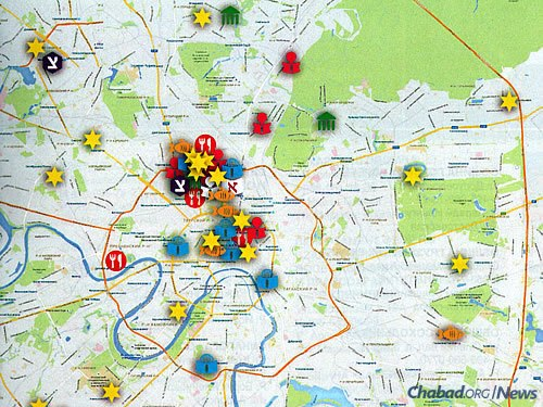 A partial map of Jewish communal infrastructure in Greater Moscow, which is also home to Chabad schools, orphanages and social-service centers, as well as kosher stores and restaurants.