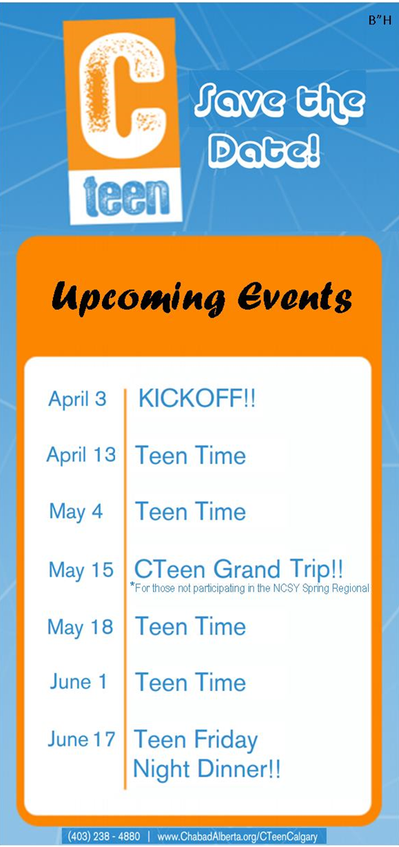 CTeen Calgary ~ Save The Date!