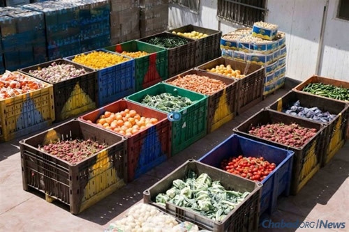 Fresh fruits and vegetables like these in Jerusalem are available to the poor at deep discounts, and sometimes for free, as a result of Maot Chitim donations.