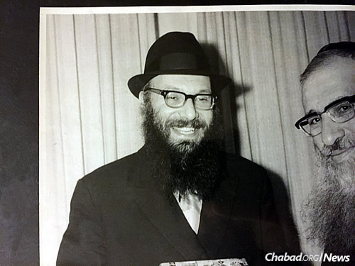 Rabbi Dovid Edelman, left, was sent by the Lubavitcher Rebbe to Springfield in 1950.