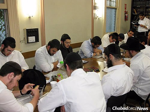 At Yeshivah Gedolah, students study the daily lessons of the Rambam as an extra-curricular pursuit, in accordance with the Lubavitcher Rebbe's guidelines.