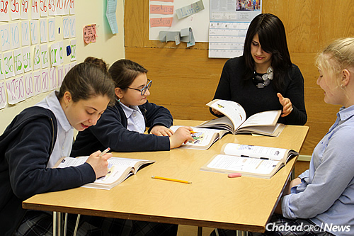 Older students at the Chassidic day school, which was founded in 1977.
