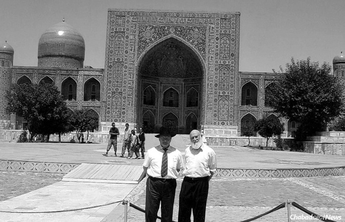 Rabbi Hillel Zaltzman, right, with his brother Rabbi Berel Zaltzman during a visit to Samarkand, Uzbekistan, the city they grew up in and left in 1971.