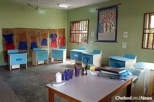 Classrooms have been refurbished and colorful new furniture added.