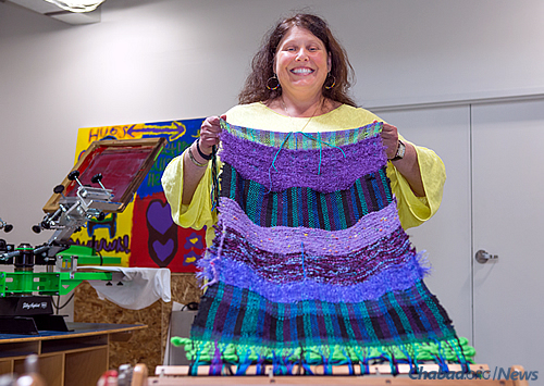 Devorah Newman of Troy, Mich., displays her weaving project. (Photo: Brandon Schwartz)