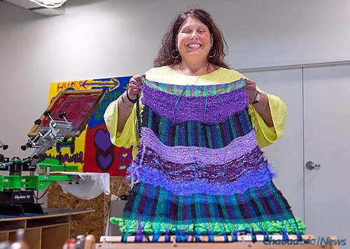 Devorah Newman of Troy, Mich., displays her weaving project. (Photo: Brandon Schwartz)