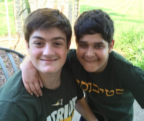 Jacob Grossman, 17, right, with his Friendship Circle buddy Jake Guria, 16.