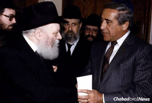 David Chase, right, in one of many encounters with the Lubavitcher Rebbe—Rabbi Menachem M. Schneerson, of righteous memory