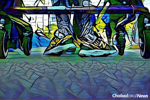 """An artistic image of Finkelstein rolling through the Miami Marathon in her orthotics and """"Gait Trainer."""" (Photo: Mike Seeley)"""