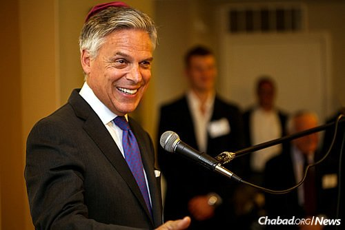 Huntsman—former governor of Utah, and a U.S. ambassador for Singapore and China—spoke of the impact Chabad has on the University of Pennsylvania, his alma mater. (Photo: Marc Smiler)