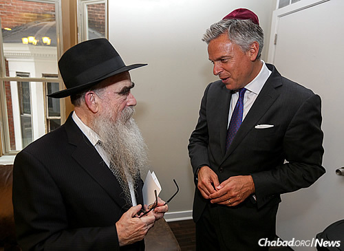 Rabbi Avrohom Shemtov, left, with Huntsman (Photo: Marc Smiler)