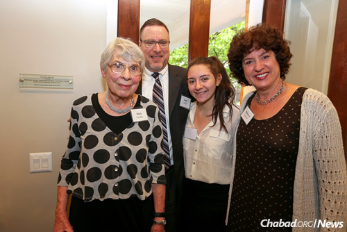 Members of the Landes family, longtime local friends and supporters of Lubavitch house at Penn. From left are former Jewish educator Sora Landes, with son Joshua Landes, granddaughter Rachel Kolman and daughter Rebecca Landes Kolman. (Photo: Marc Smiler)
