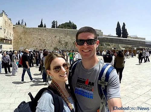Denning and his fiancee, Noa Haase, in Israel for Passover 2015