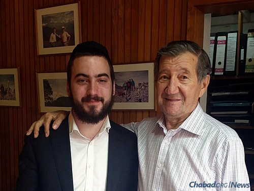 Nairobi's Jewish community goes back to the late 1800s. Many Kenyan Jews arrived there fleeing European anti-Semitism in the years before World War II. Super poses with Charles Szlapak, originally from Poland but in Nairobi since 1938, who has served as a central pillar of the community for decades.