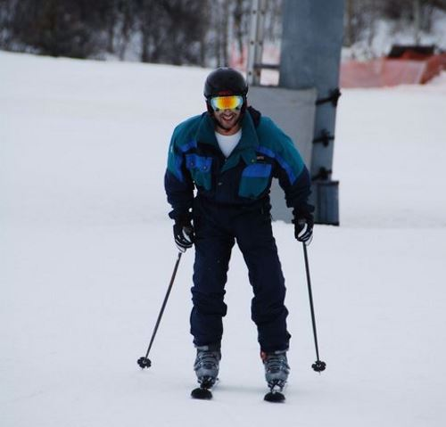Skiing with his new feet