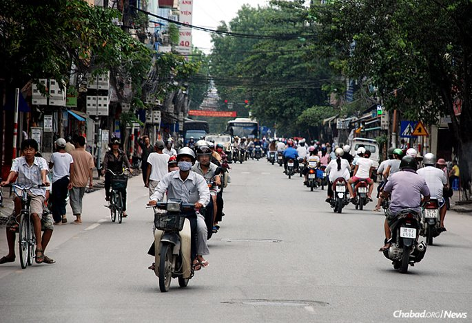 Hanoi has been the locale this summer for rabbinical students Mendy Tubul and Berel Dubinsky, who have scoured the capital of Vietnam, often on moped, looking for Jewish residents and tourists, and offering them services, kosher food and sometimes, just their company. (Photo: Wikimedia Commons)